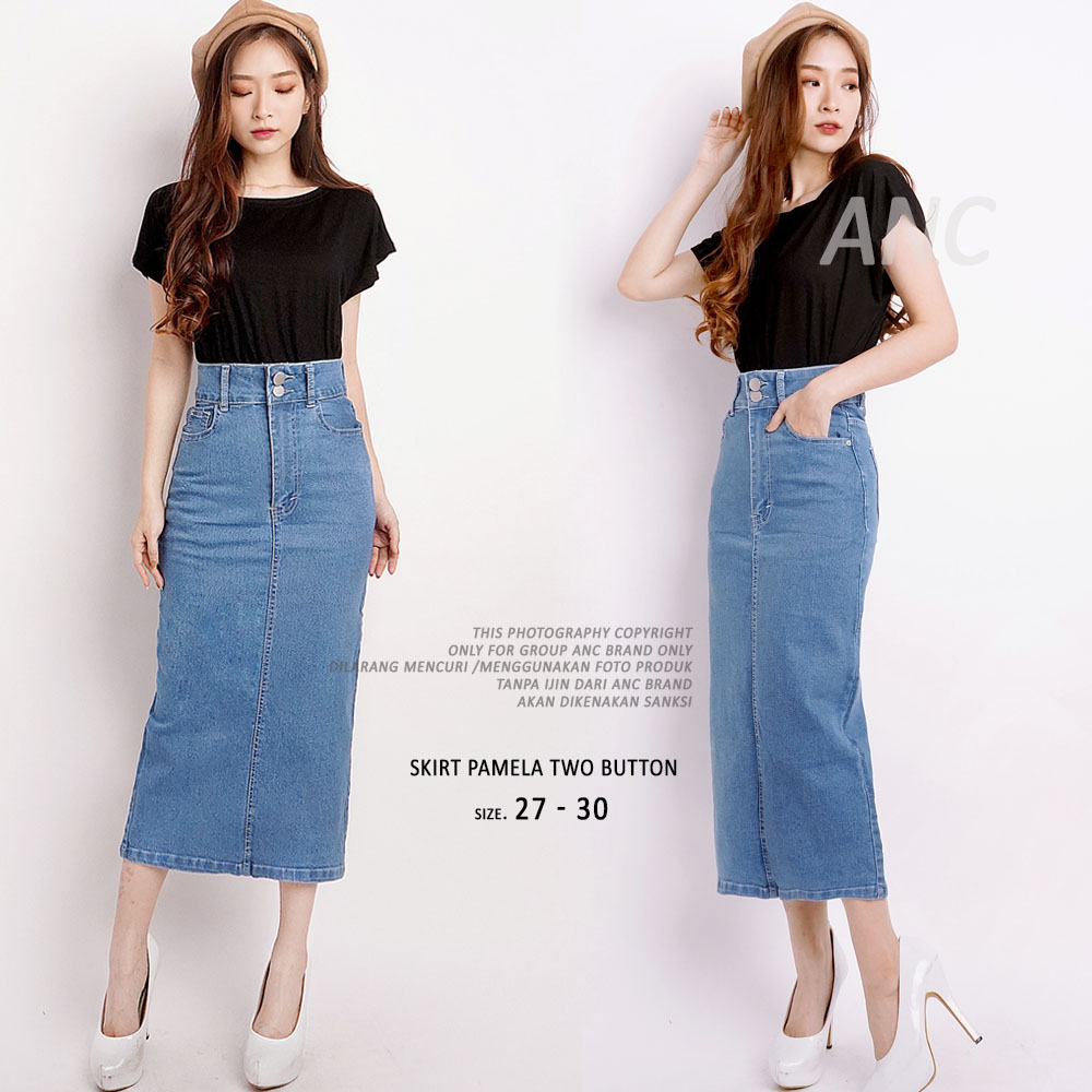 (sale judul) ready 2 model – skirt pamela kombinasi  (uk.27-34) – rok jeans maxi dress gamis – ancien store