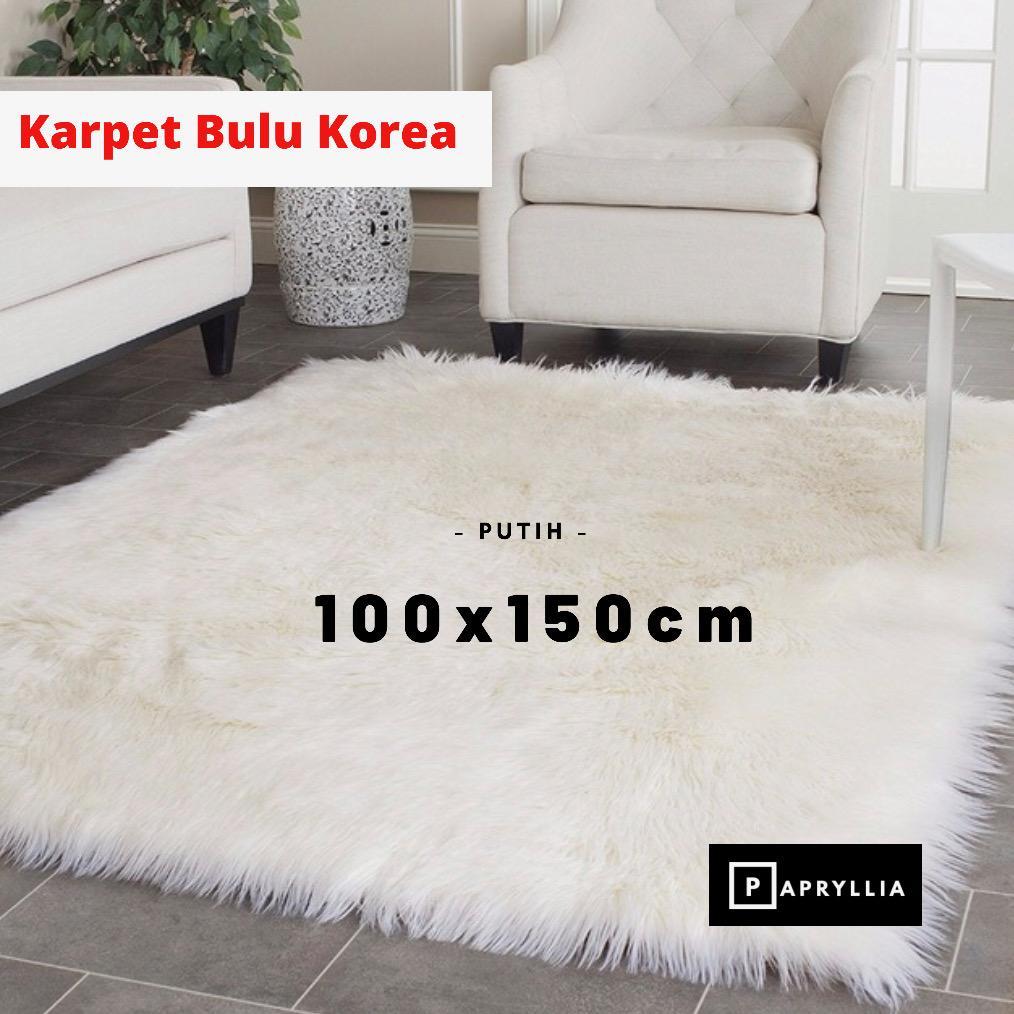 karpet bulu korea ukuran 100x150cm + antislip ( putih )