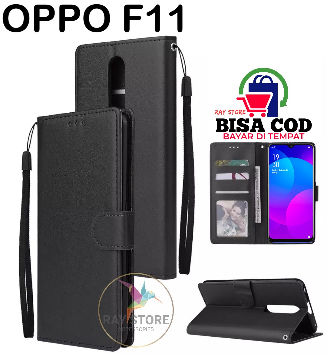 OPPO F11 LEATHER CASE PREMIUM-FLIP WALLET CASE KULIT UNTUK OPPO F11 - CASING DOMPET-FLIP COVER LEATHER-SARUNG BUKU HP