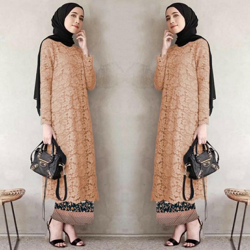 tg set setelan baju kebaya batik pesta modern brukat brokat + rok batik bisa jumbo xl gamis pesta kondangan   wisuda remaja muslimah muslim wanita  besar big jumbo xl xxl ihadelina