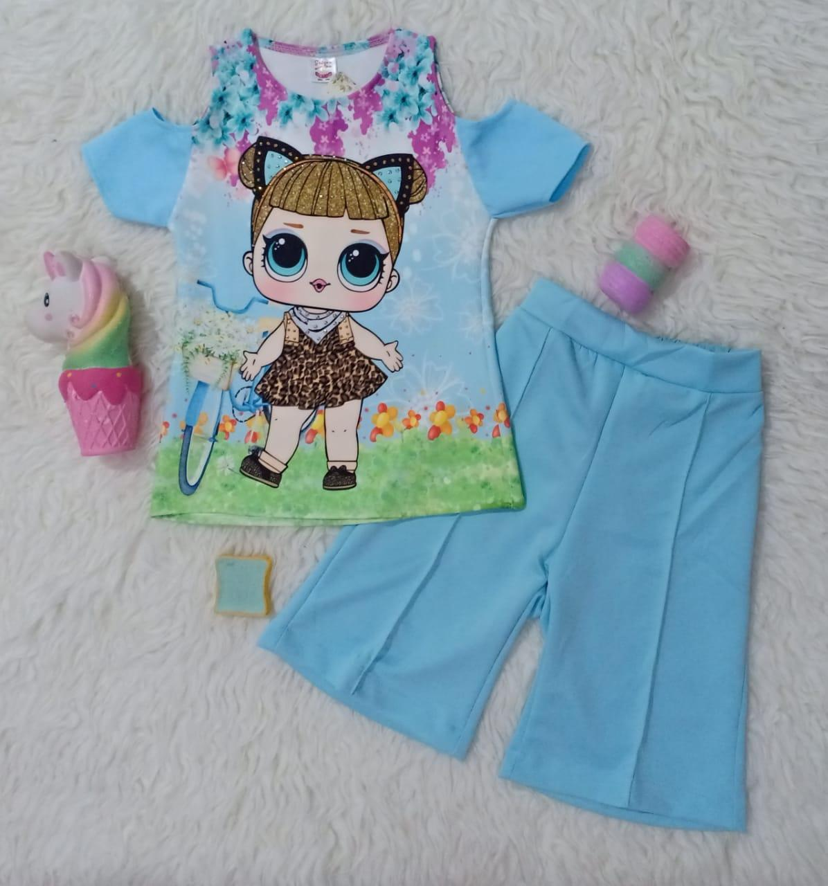 SR Collection (3 Warna Random) Pakaian Anak Perempuan Blouse Kulot BK 0028 Set 2