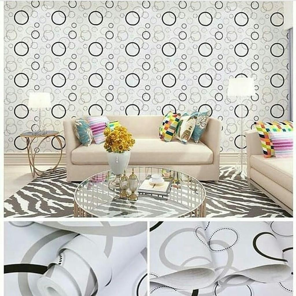 Wallpaper Stiker Dinding PVC - Self In Premium Matte Elegant Size 45cm X 10meter Motif And