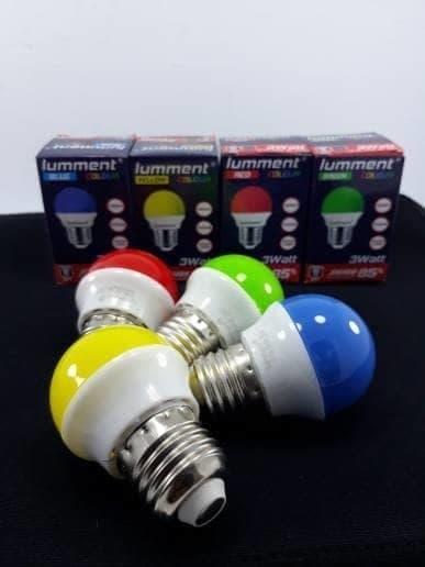 lampu bohlam led bulb lumment 3w colours by push on