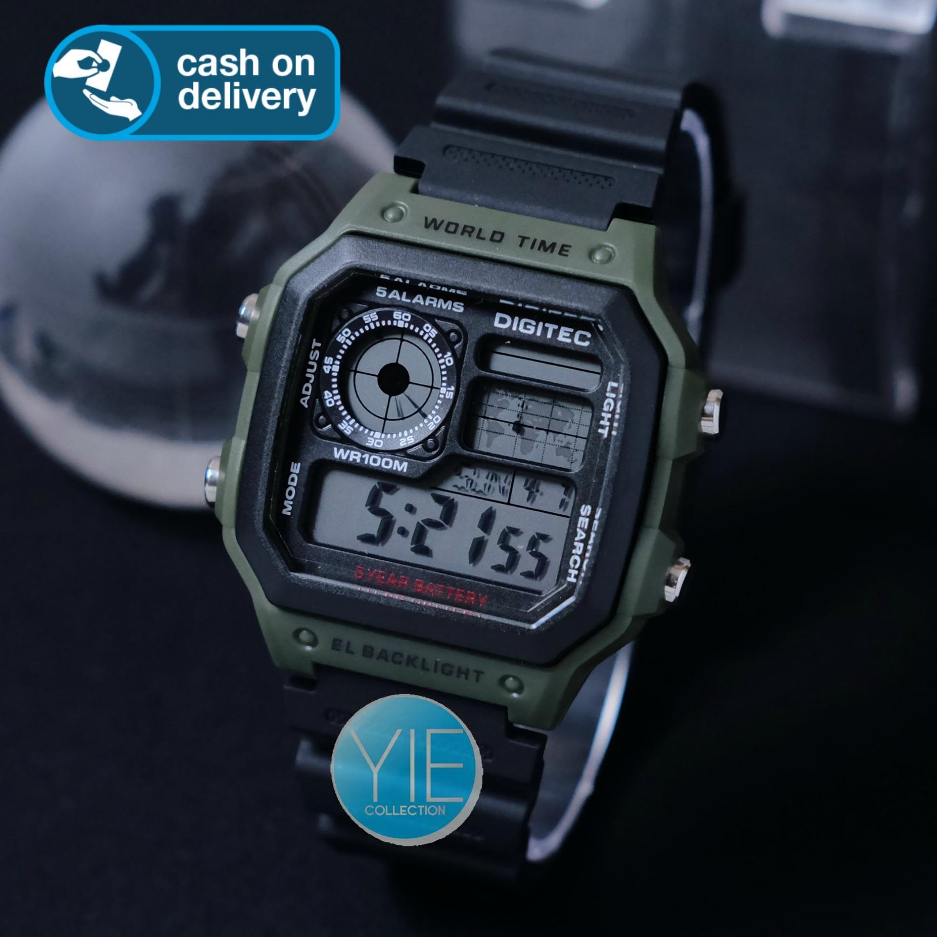 Jam Tangan Pria Sport Army Digitec World Time Dual Display DG 3080 Original Tahan Air Hj