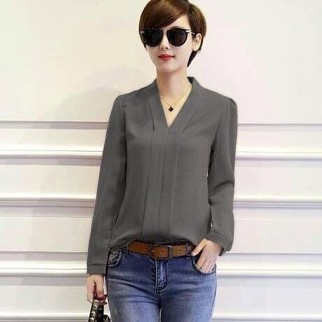 Grand LMS Kemeja Zuky Bahan Rayon Bangkok   Blouse Korea   Atasan Wanita    Baju Formal d675e2b171