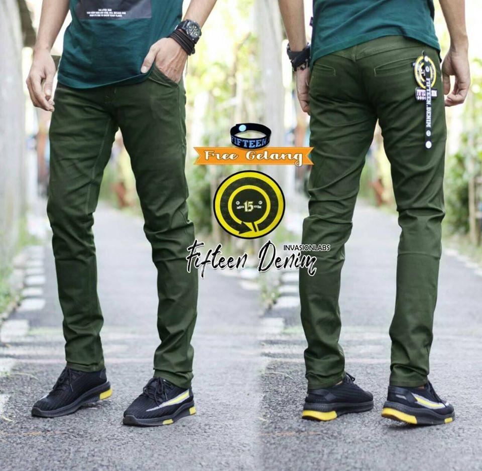 (bisa bayar ditempat) celana chino chinos pria big size ukuran 27 – 38 celana chino slim fit cowo original  fifteen denim