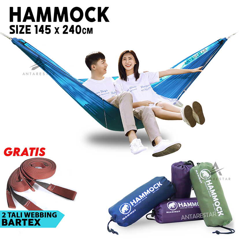 grosir hammock single ayunan gantung camping outdoor kuat ringan praktis untuk pendaki hiking traveling backpacking hamock hemock hemok