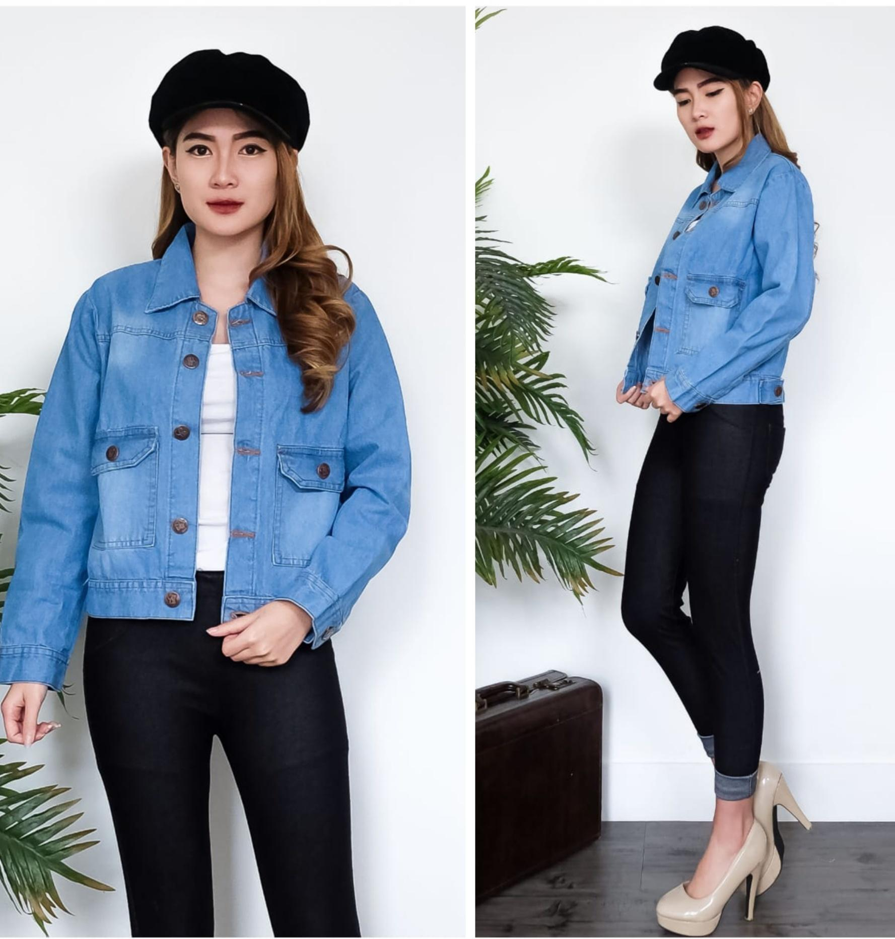 Chic Shop ro Jaket jeans gisella dark blue Bhn jeans wash tebal to fit L