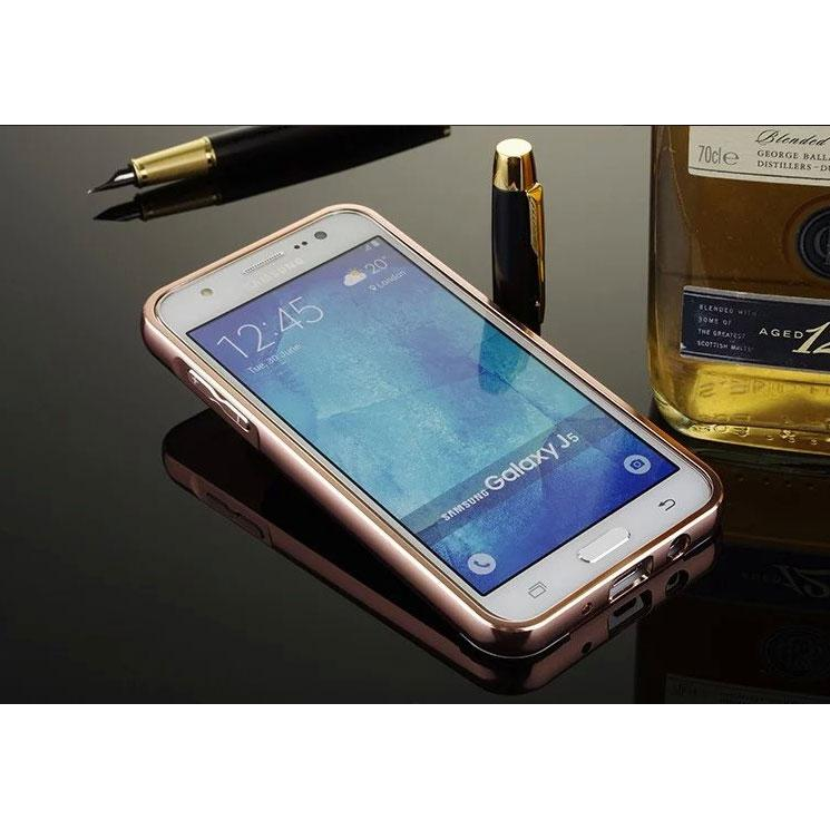... Aluminium Bumper with Mirror Back Cover for Samsung Galaxy J5 2015 - Rose Gold - 3 ...