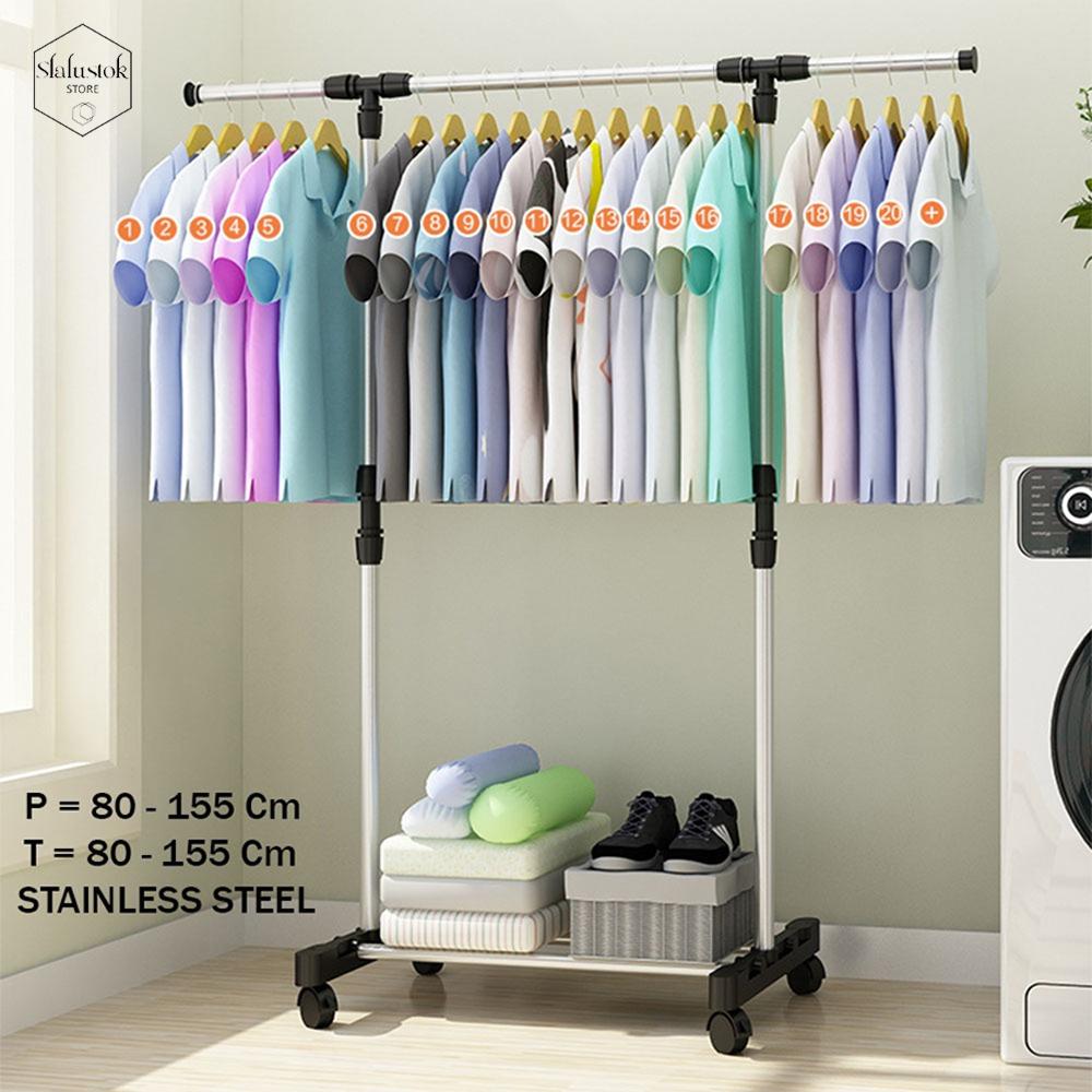 sthanger single x12 rak serbaguna dengan 4 roda praktis / rak baju / rak single serbaguna rak baju portable