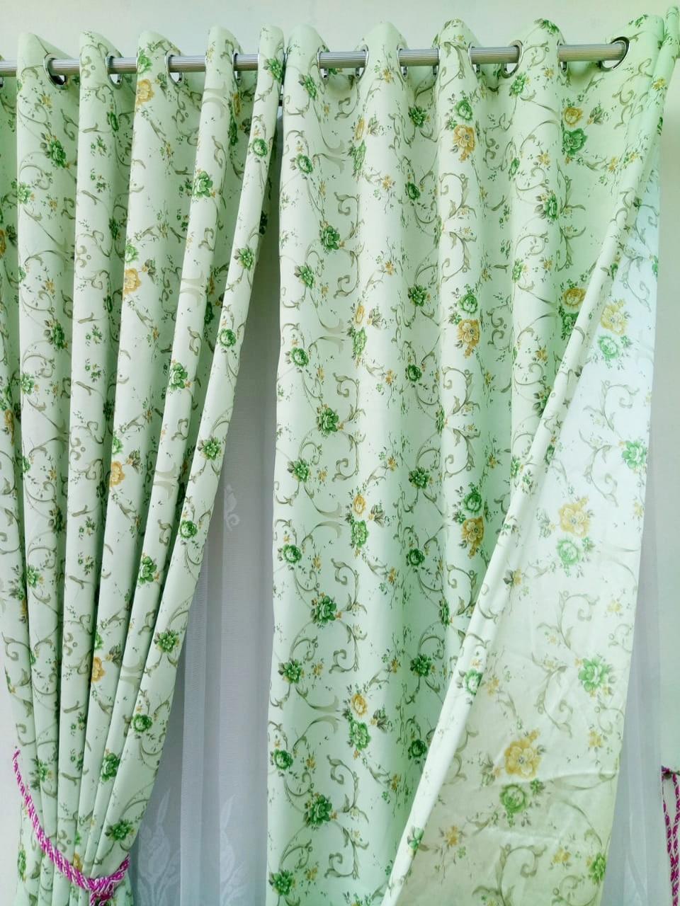 Detail Gambar Gorden blackout shabby chic hijau motif bunga kecil tirai jendela pintu minimalis murah dekorasi