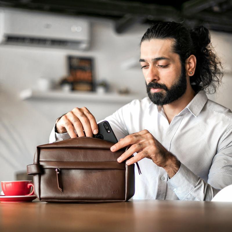 kee tas tangan handbag pouch bag pria kulit premium – eagle edition (brown)