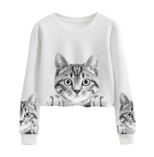 MFcollection Sweater Wanita Crop Motif Kucing - Putih