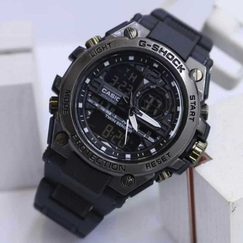 cod dual time jam tangan pria metal head stopwatch led alaram water resistance limited fashion sporty kasual