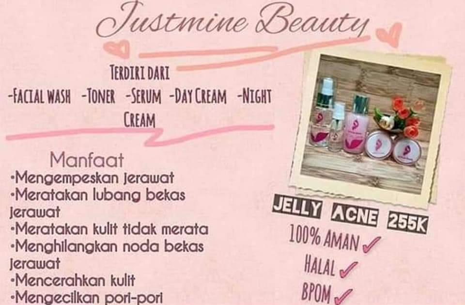 paket justmine beauty acne jelly a3-paket mengatasi jerawat-flek-berminyak-mengecilkan pori2-memutihkan