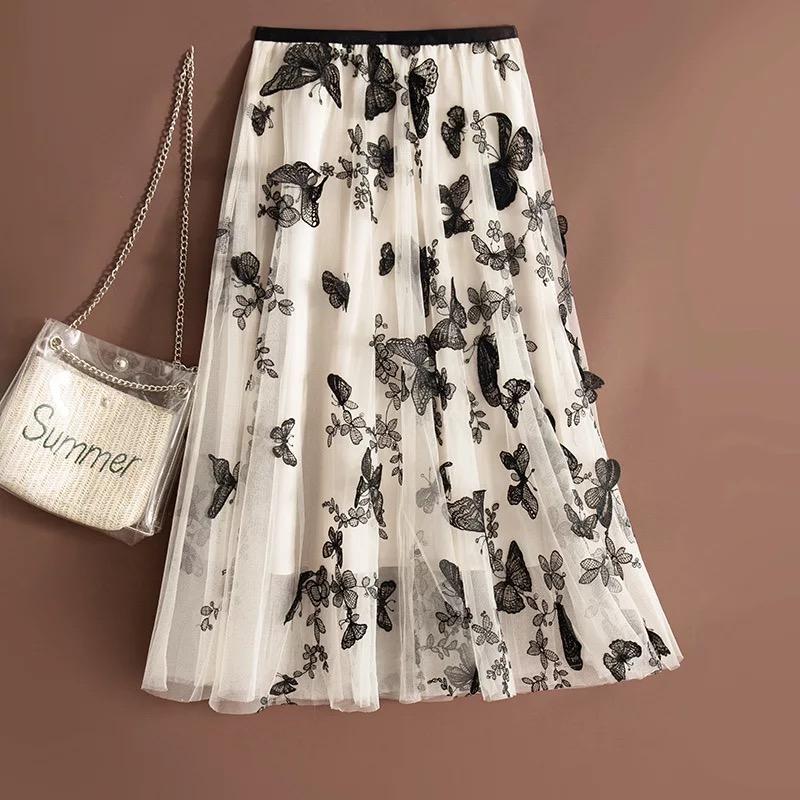 rok tutu korea kupu-kupu 3d panjang / tutu korean maxi skirt import 3d butterfly sequin – katlyn shop