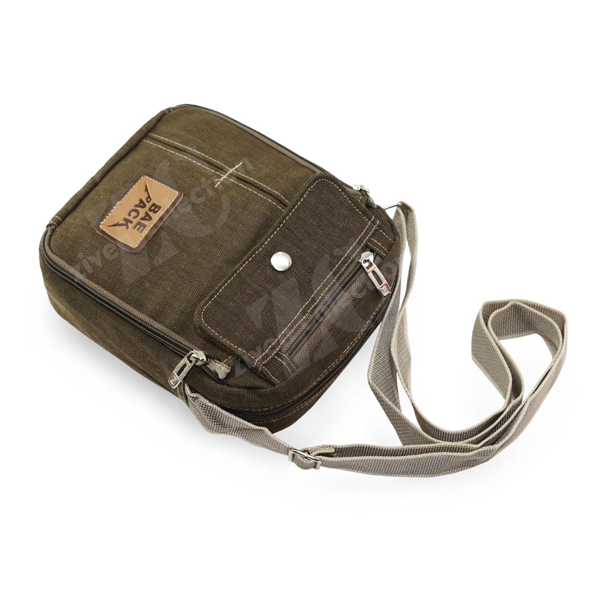 ... Tas Pria Men Baepack 1508 Vintage Canvas Multifunction Travel Satchel Messenger Shoulder Bag - 4