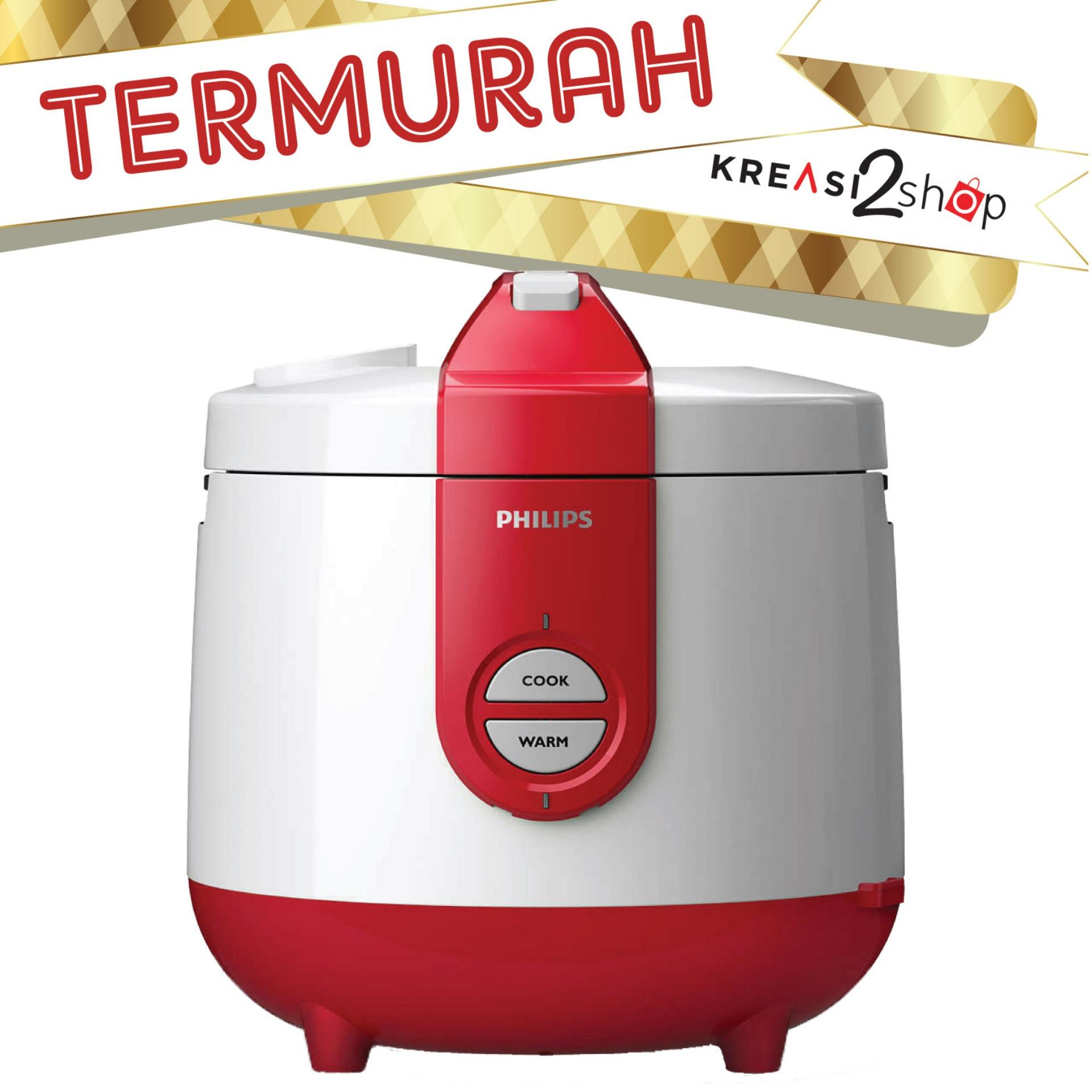 Philips Daily Collection Rice Cooker HD3119/32 (Pengganti HD3118) Red Merah