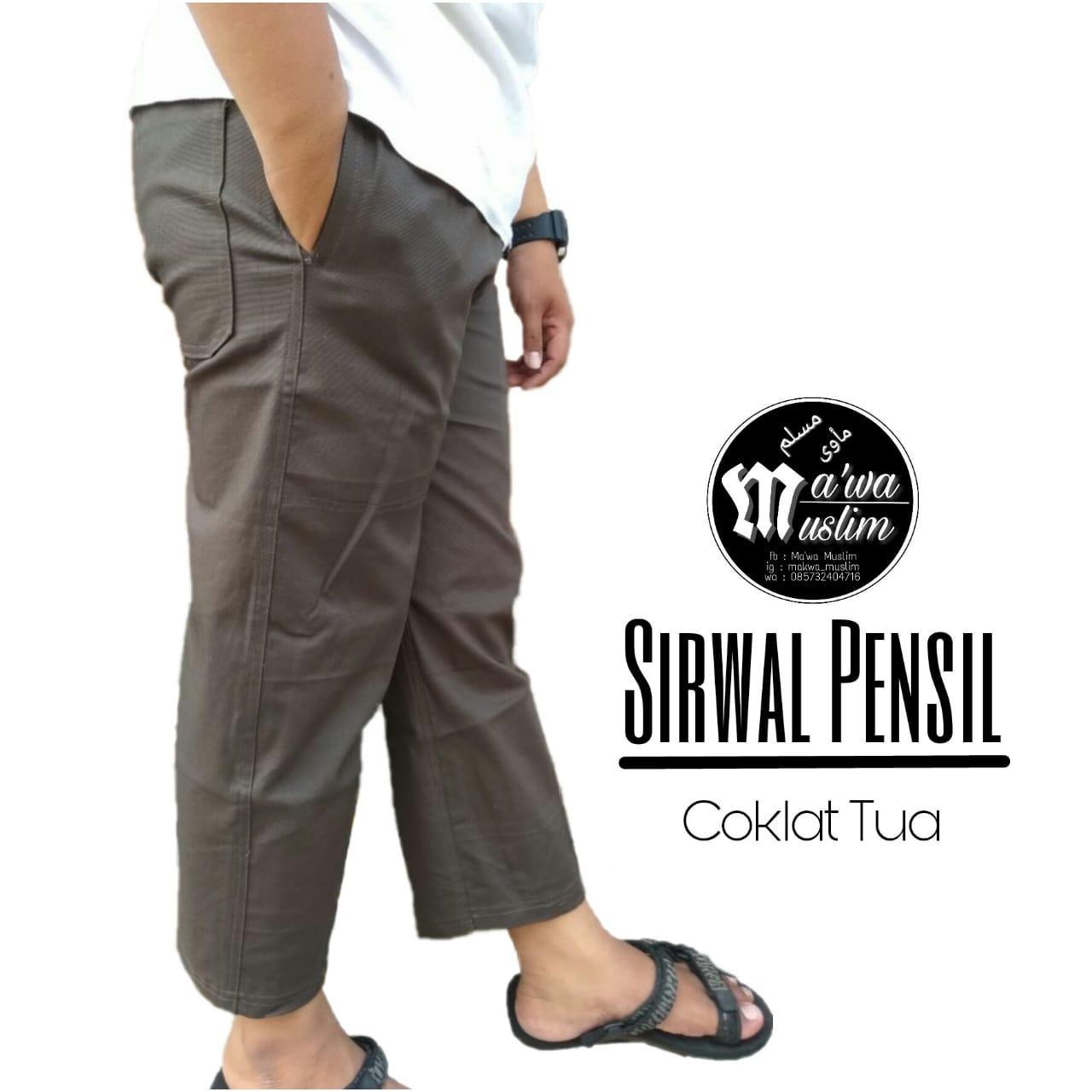 Celana Panjang Pria - Sirwal Pensil - Coklat Tua