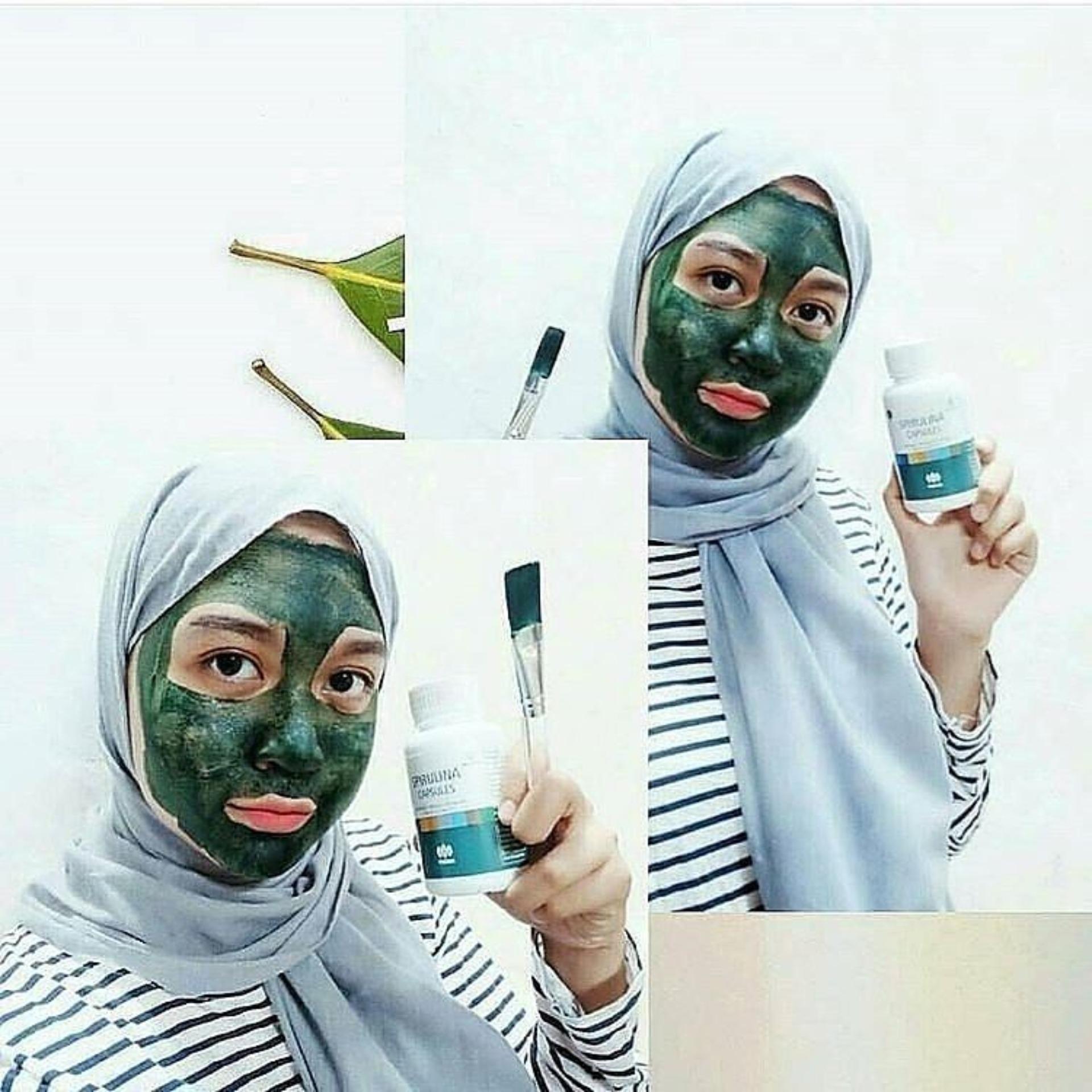 ... Masker Spirulina Tiens - Masker Wajah Pemutih Menghilangkan Jerawat Dan Komedo Kemasan 30 Kapsul - Paket ...