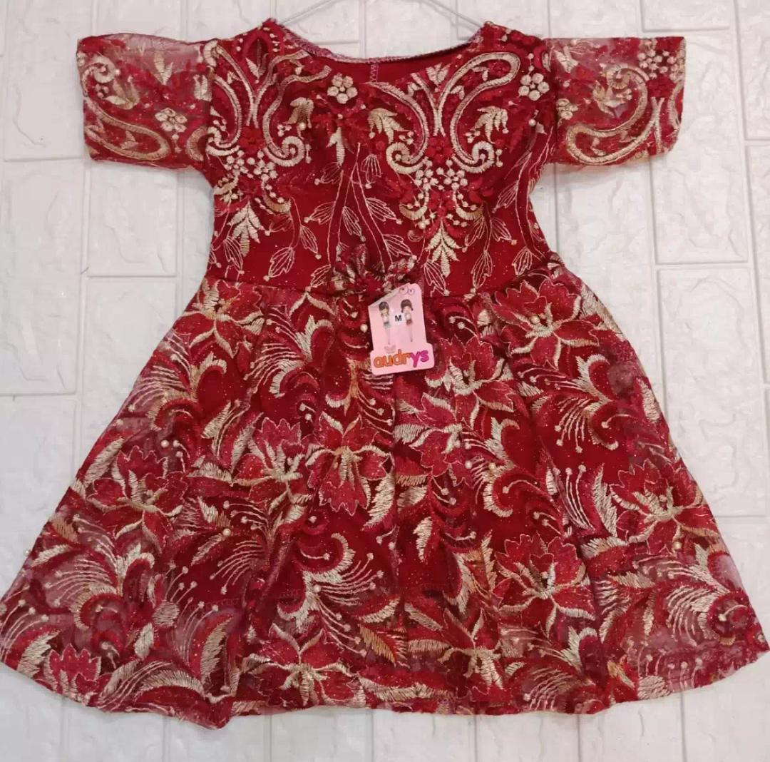baju burkat anak perempuan yukensi/baju dress  burkat anak pesta/ baju anak clarine24 untuk umur 1-2 tahun.