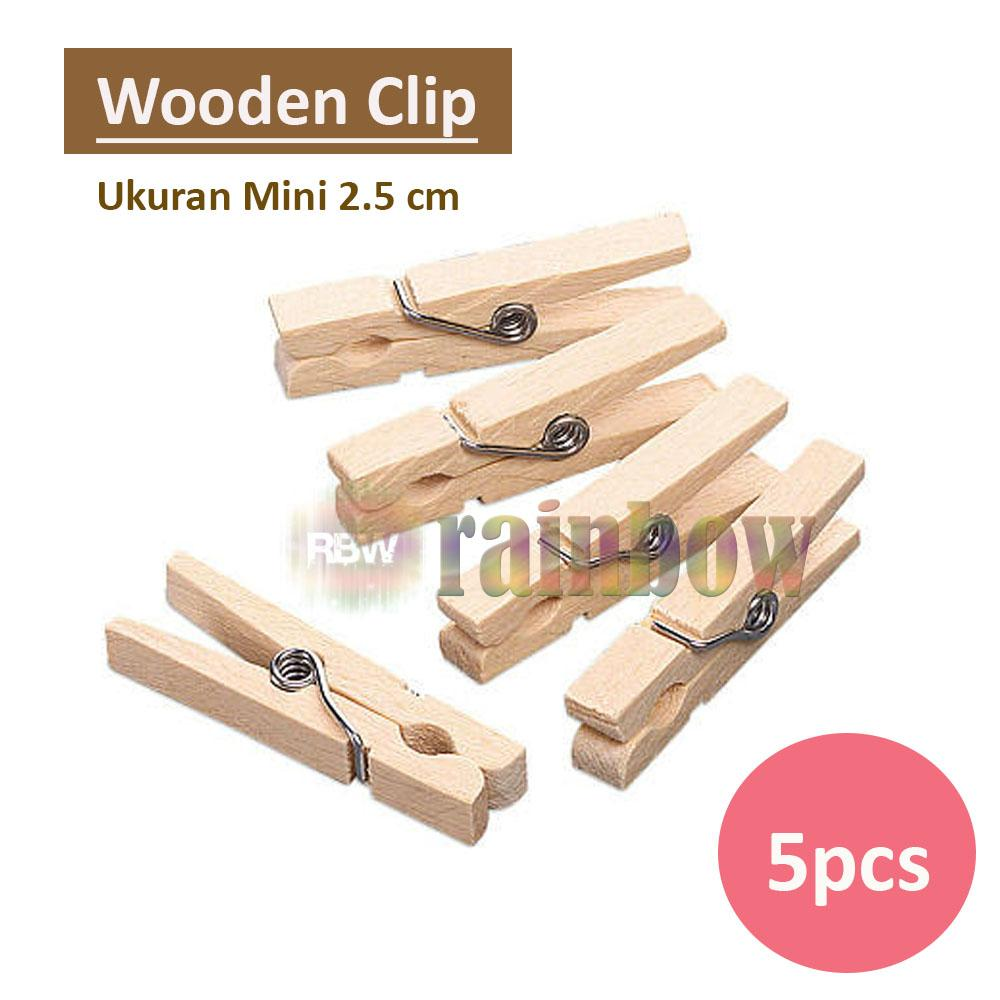 5 pcs - Jepitan Baju Kayu Natural Random Wooden Clip Jepitan Jemuran Wooden Klip Jepit Baju