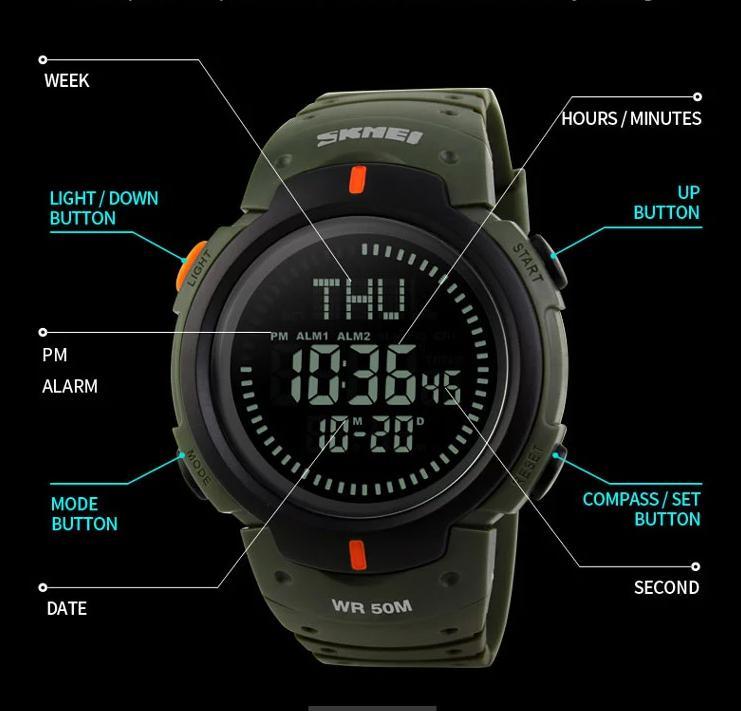 ... SKMEI 1231 Jam Tangan Anti Air Pria with Compass Elite Version - 5