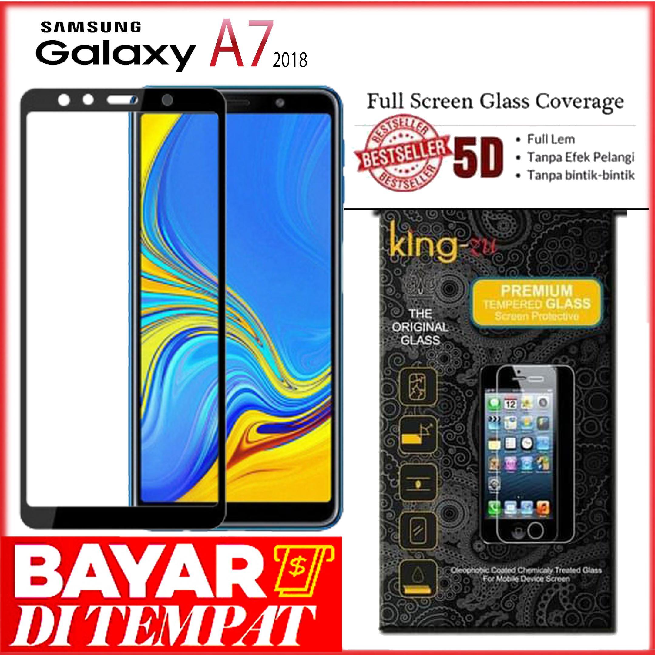 Bayar Di Tempat Tempered Glass full lem full cover(Samsung Galaxy A7 2018) Anti