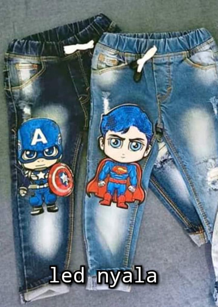 celana jeans anak cewe cowo lol super hero doble led nyala grosir