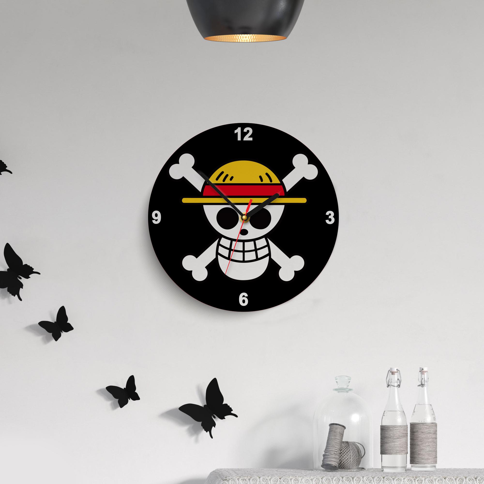 jam dinding anime one piece thoussunny unik menarik cocok untuk hiasan dinding diameter 30cm