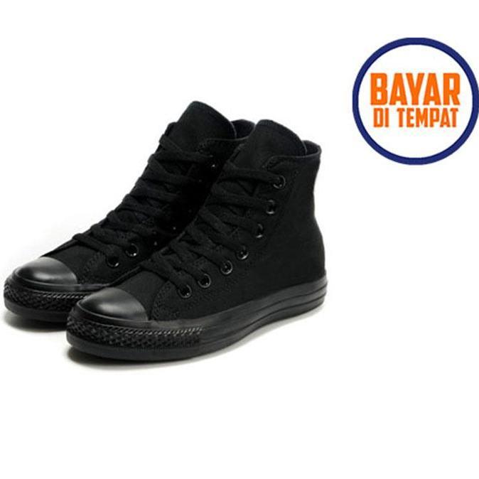 Pochinki Sepatu Sneakers Casual All Star HIGH TOP   TINGGI Full Black  AllStar Chuck Taylor Classic fb9d1cf1ea
