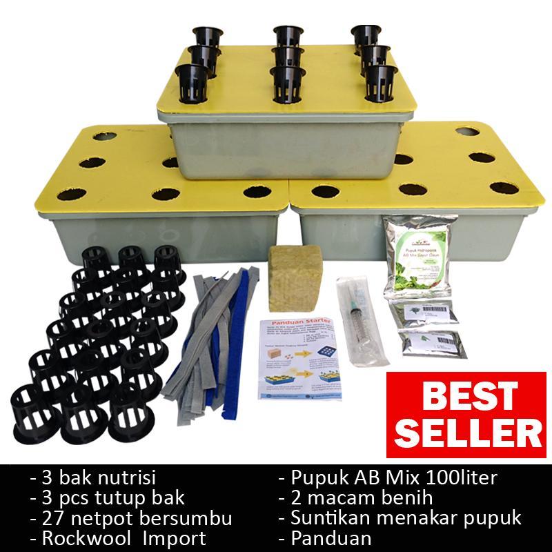 starter kit hidroponik (wick system) 9 lubang – 3 bak