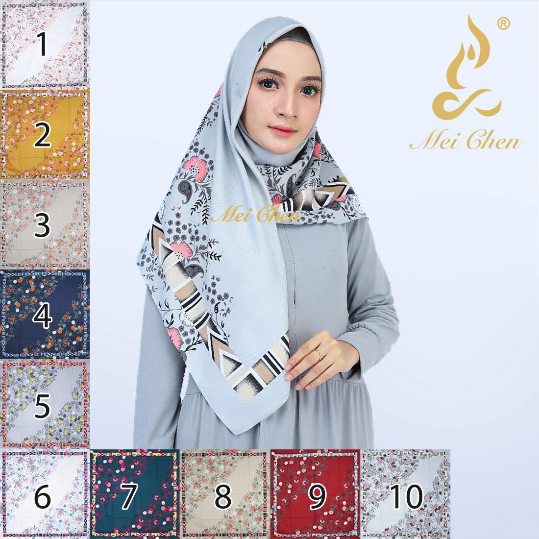 mei chen bunga motif indah hijab jilbab kerudung
