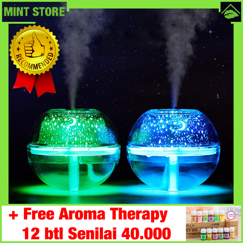 Humidifier Aroma Therapy Diffuser Murah Pelembab Ruangan Minimalist Air Ultrasonic Projector Lampu LED 500ml - HMD-075