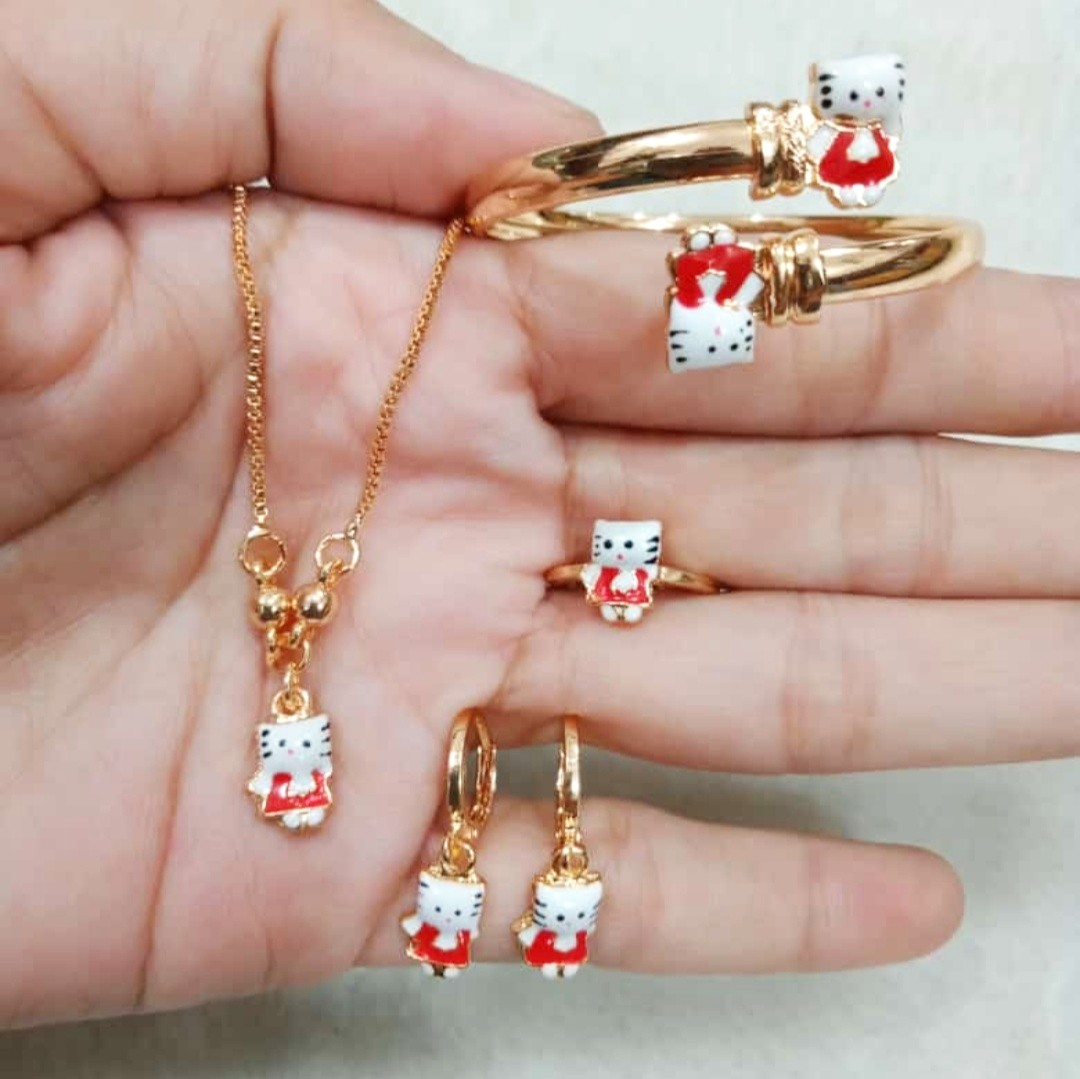 set perhiasan anak kitty cat terbaru xuping gold 444