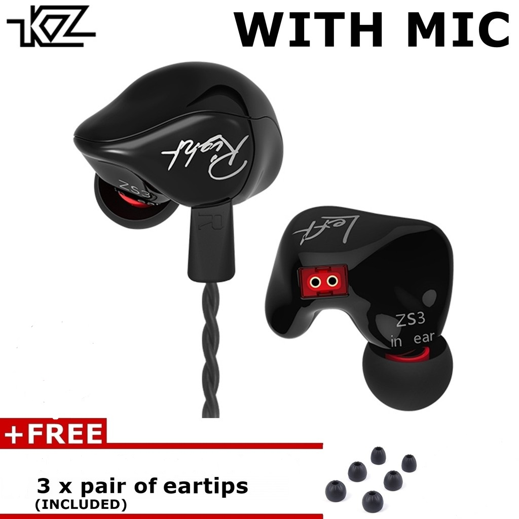 knowledge zenith zs3 with mic 1dd dynamic earphone in ear monitor kz zs3 hifi music bass