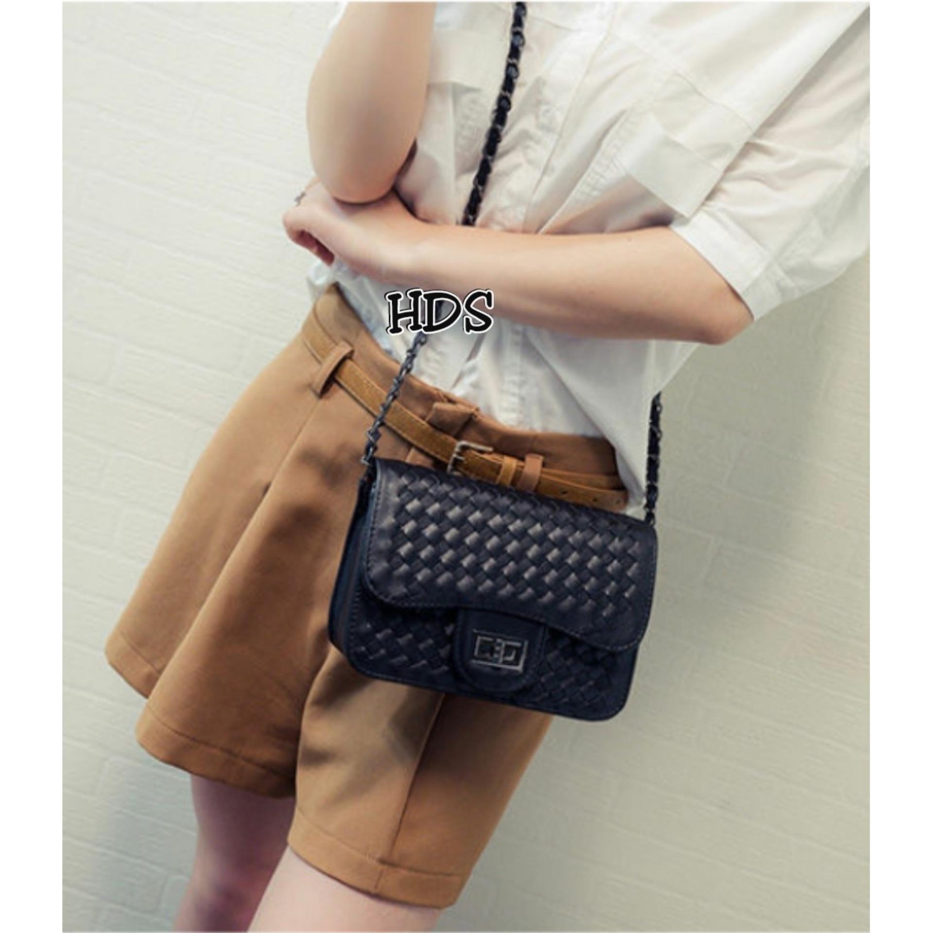 Zeba Sling Bag Square Korean Style Plait Locker / Tas Selempang Kotak Wanita Korean Style