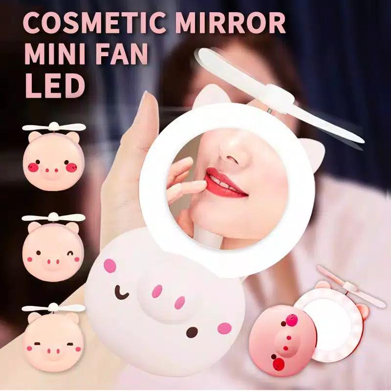 cermin kaca led mini fan cermin kipas led 3 in 1 kaca make up led usb portable kipas led kaca karakter dengan cermin kaca rias make up kipas karakter kaca cermin lampu kaca kipas angin mini led kaca k386