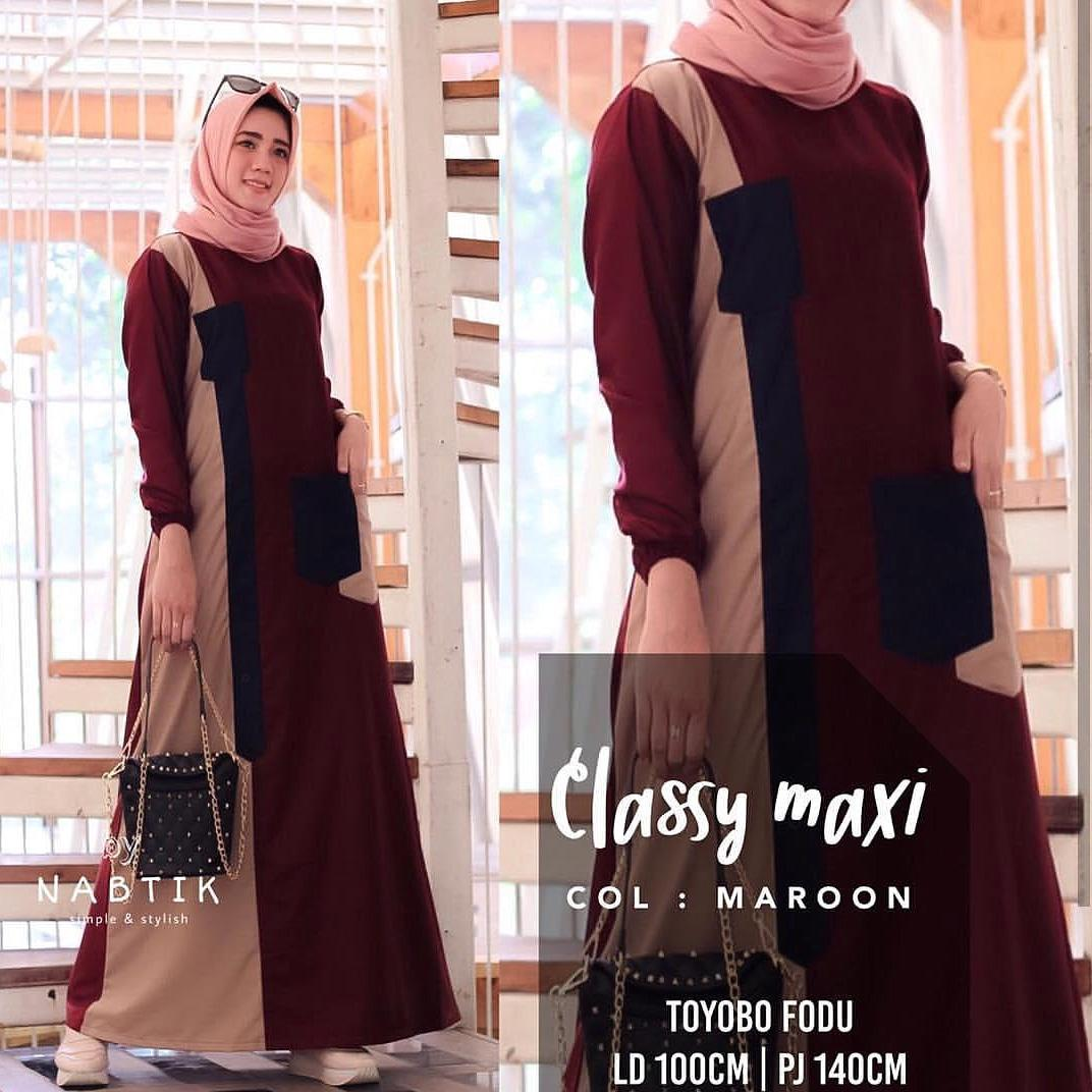 Jessy Fashion Baju Gamis Classy Maxi Dress Moscrepe Trendy Modern Wanita Baju Panjang Stelan Polos Muslim