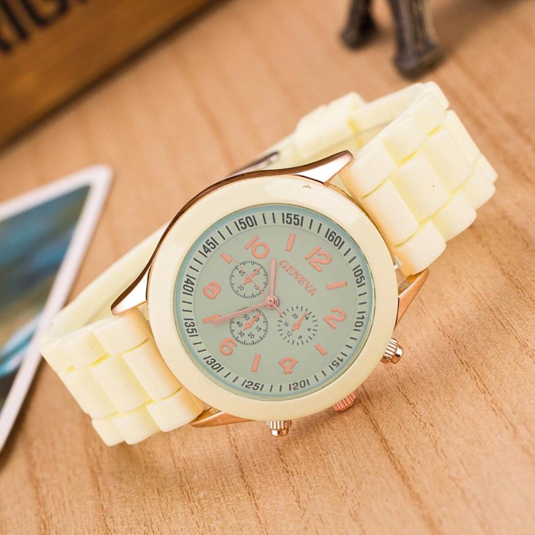 geneva 263 jam tangan wanita analog fashion casual women strap silicone –