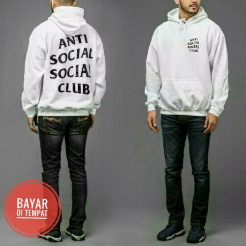 Jaket Anti social club White Pull Over Hoodie Best Seller