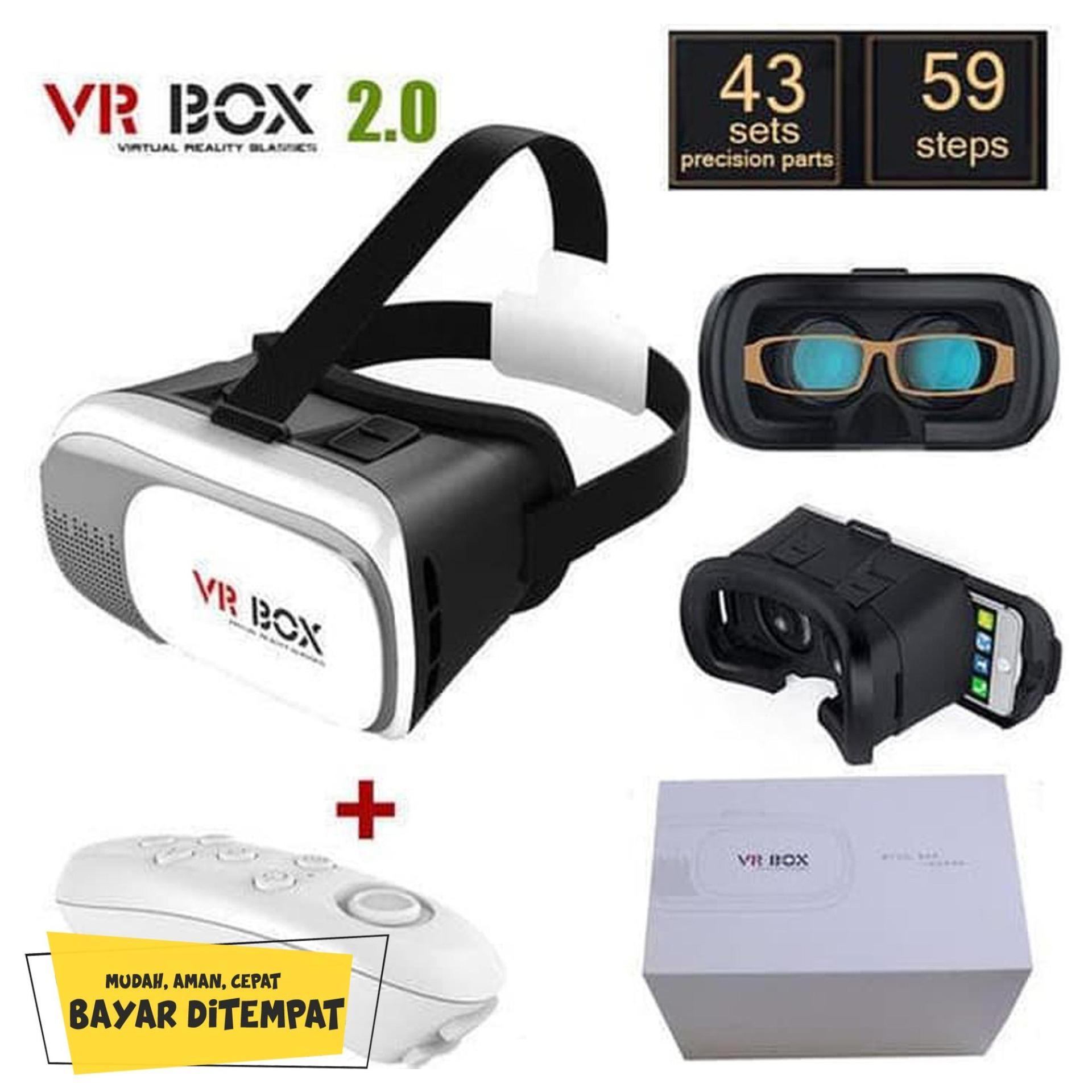 paket vr box 2.0 + bluetooth gamepad ( virtual reality glasses ) | vr box joystick | 1 set vr box untuk hp | vr vivo | stik game vr