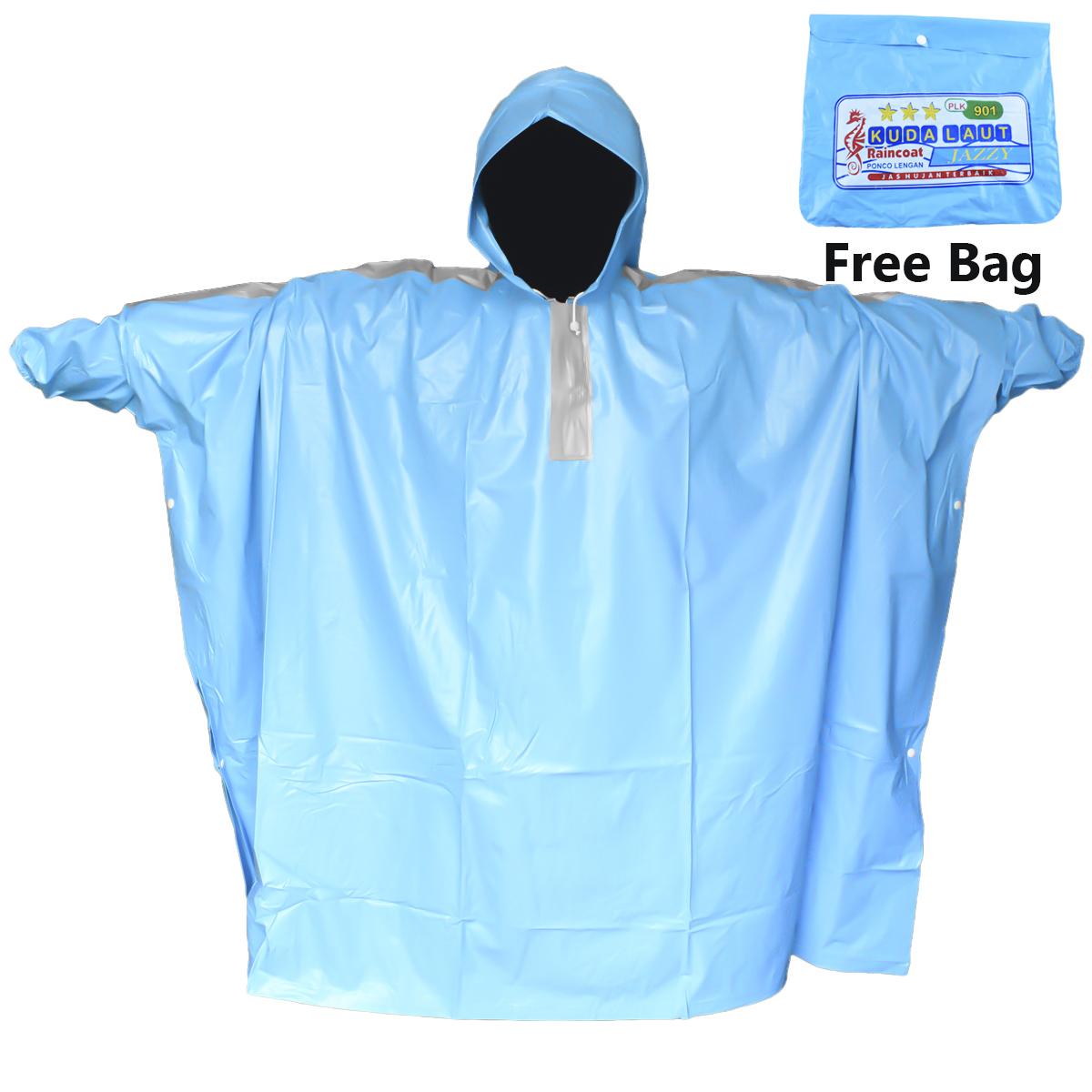 weitech jas hujan ponco lengan celana set spartan aqua bahan pvc motif polos-plc-106