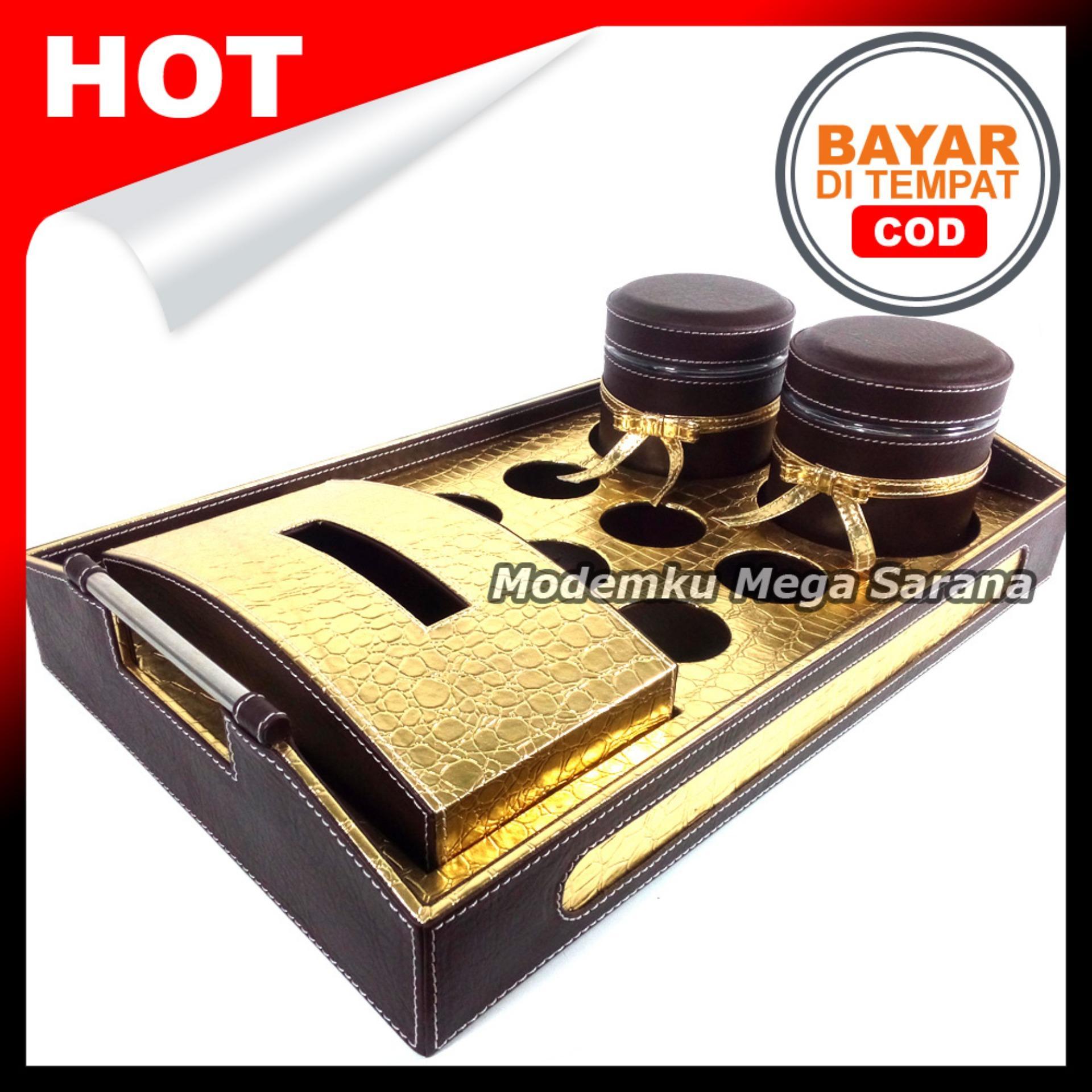 MMS - Tray Sett 3 in 1 - Coklat Emas 1 Tisu 2 Toples 6 Lubang
