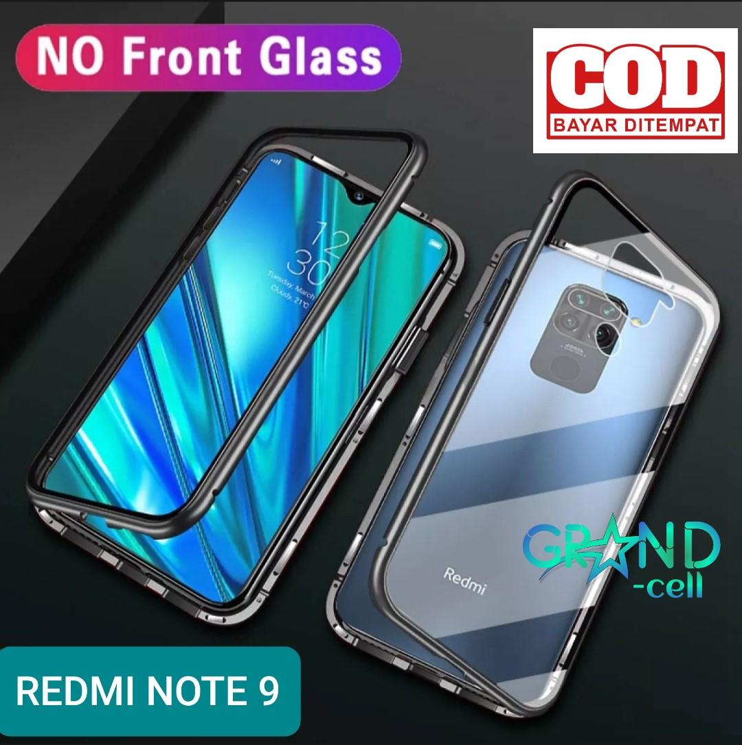 magnetik case hp xiaomi redmi note 9 2020 casing bumper metal glass cover