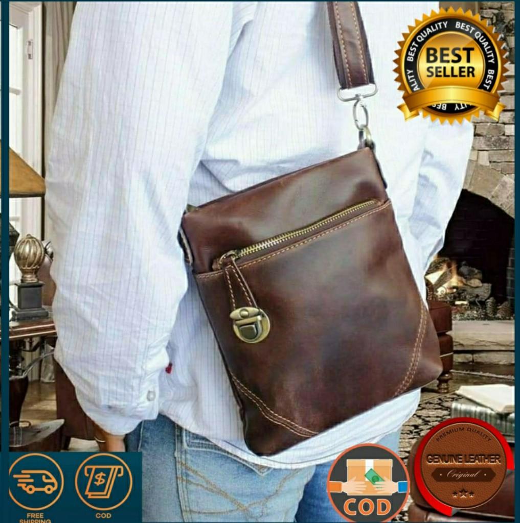 tas selempang pria wanita kulit asli- tas kulit asli tkr01 premium
