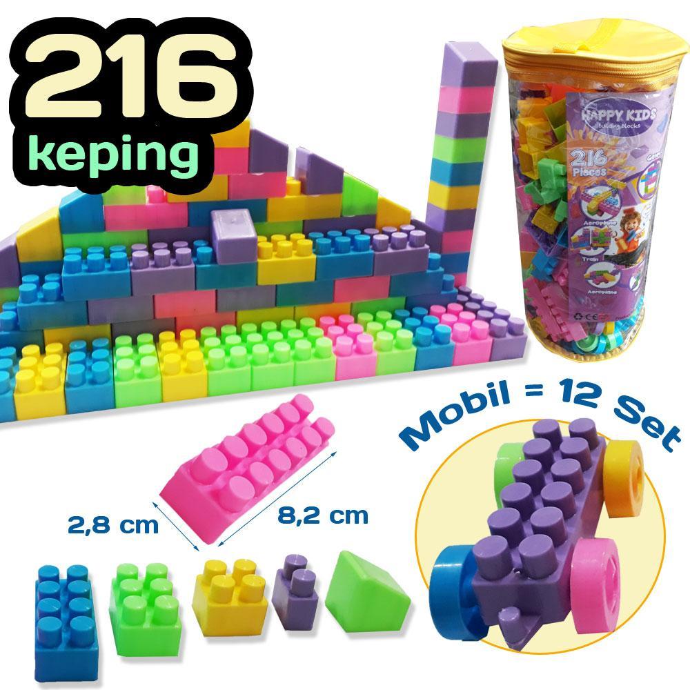 mainan edukasi blocks lego bricks 216 pcs – balok susun – block building