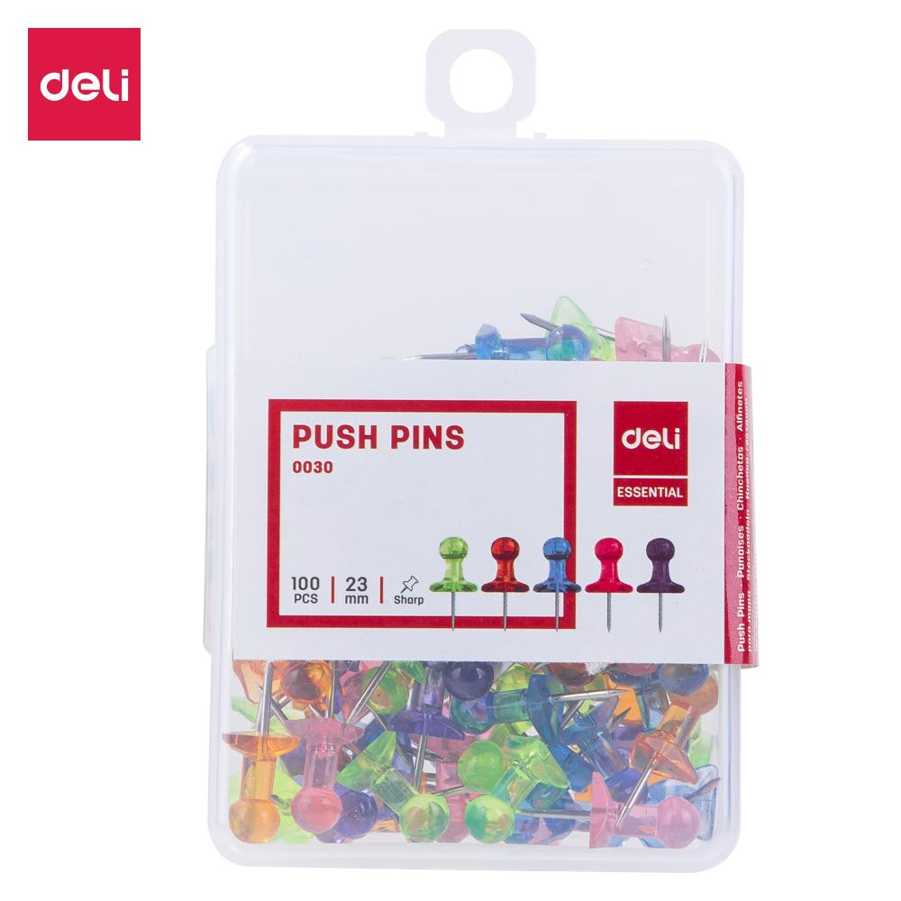 Deli E0030 Office Consumable/Kebutuhan Kantor - Translucent Color Push Pins 23mm