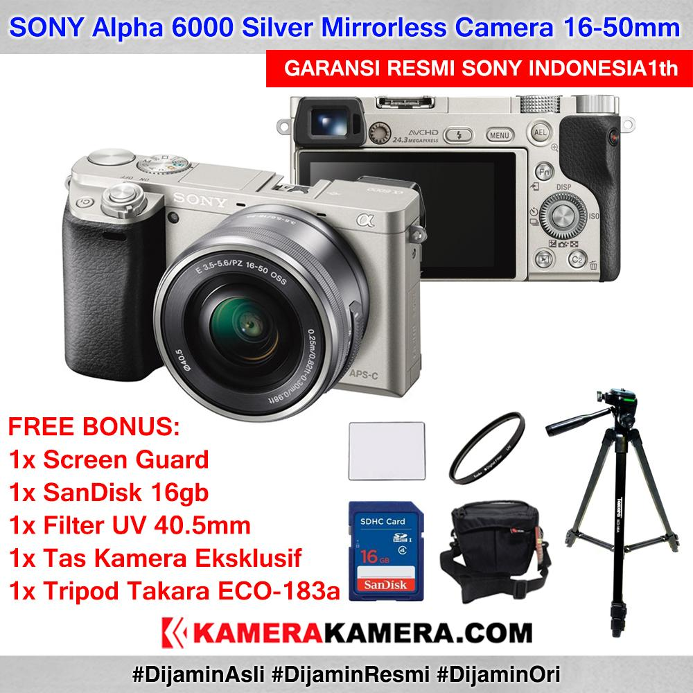 SONY Alpha 6000 with 16-50mm Lens Mirrorless Camera a6000 WiFi 24MP Full HD Garansi Resmi 1th + Screen Guard + SanDisk 16gb + Filter UV 40.5 + Tas Kamera + Tripod Takara ECO-183a