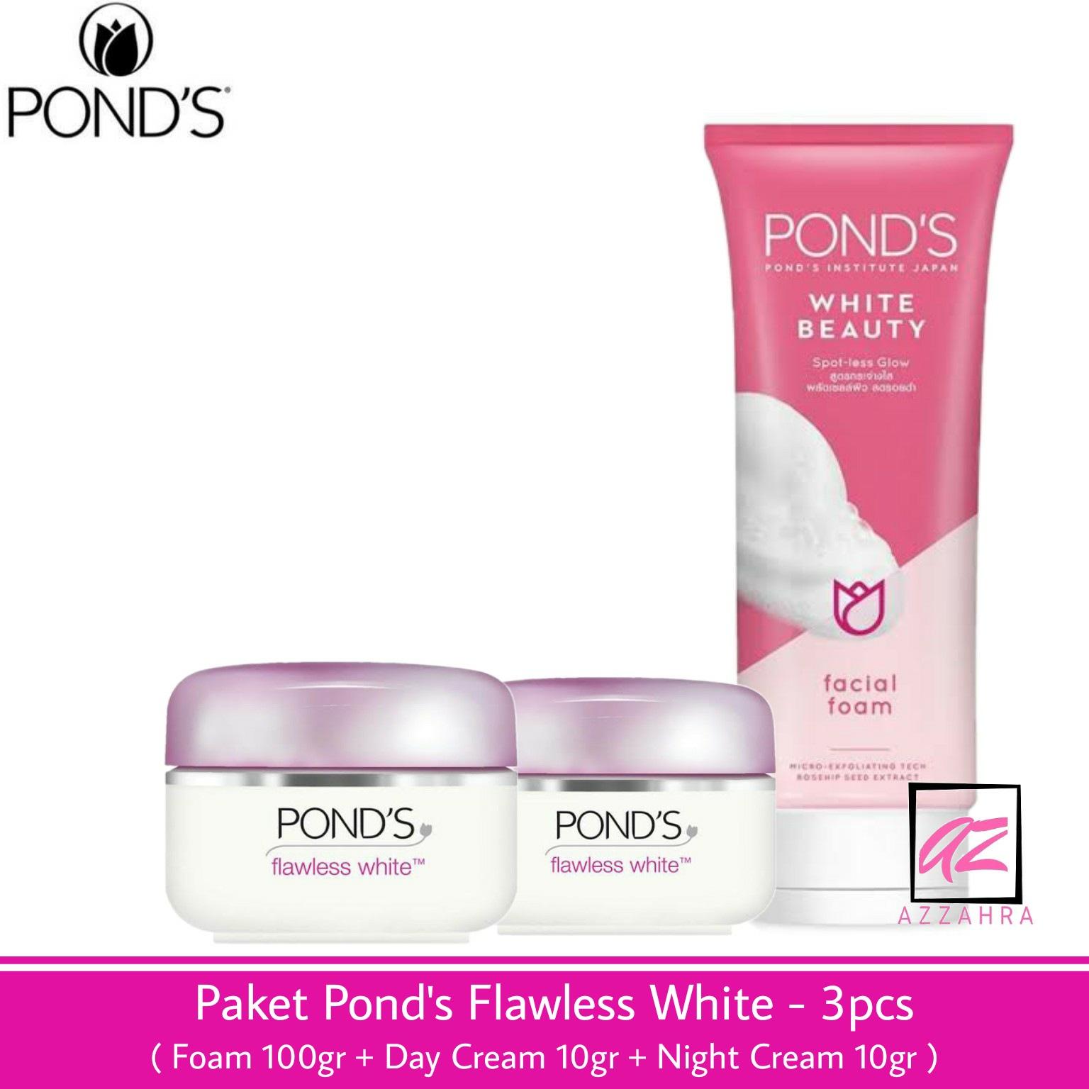 paket ponds flawless white – 3pcs ( foam 100gr + day cream 10gr + night cream 10gr )